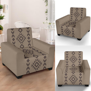 "Light and Dark Brown Tribal Ethic Pattern Stretch Armchair Cover With Elastic Edge Fits Up To 43"" Chairs"