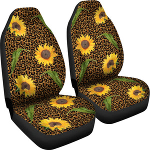 Rustic Sunflowers and Leaves on Leopard Print Car Seat Covers Seat Protectors
