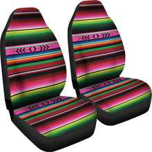 Load image into Gallery viewer, Bright Colored Pink, Green and Red Serape Style Car Seat Covers Set