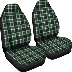 Dark Green and Black Plaid Check Car Seat Covers