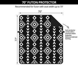 "Black and White Ethnic Tribal Pattern 70"" Futon Sofa Protector Couch Slipcover Sofabed"