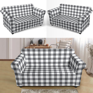 White Gingham Stretch Loveseat Slipcover Protector