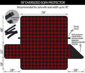 "Red and Black Buffalo Plaid 78"" Oversized Sofa Protector Couch Cover Farmhouse Country Pattern Slip Cover"