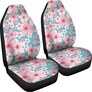 Teal With Large Pink and White Cherry Blossom Flower Seat Covers