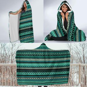 Teal and Black Ethnic Pattern Hooded Blanket