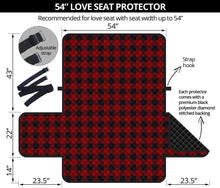 "Load image into Gallery viewer, Red and Black Buffalo Plaid 54"" Loveseat Protector Couch Cover Farmhouse Country Home Decor"
