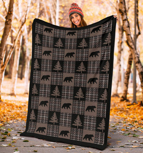 Brown and Black Country Plaid Patchwork Style Fleece Throw Blanket