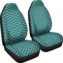 Load image into Gallery viewer, Rustic Teal and Gray Marble Chevron Car Seat Covers