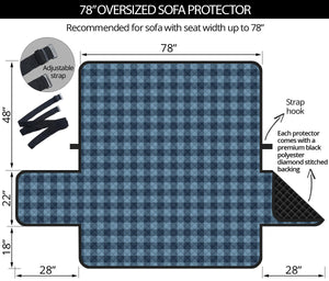 "Blue Buffalo Oversized Plaid Couch Cover Sofa Protector 78"" Seat Width"