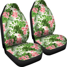 Load image into Gallery viewer, Pink and Green Tropical Car Seat Covers With Flowers