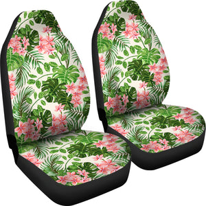 Pink and Green Tropical Car Seat Covers With Flowers
