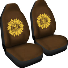 Load image into Gallery viewer, Faith Sunflower on Dark Brown Faux Suede Background Car Seat Covers
