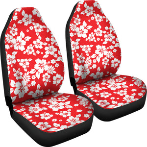 Red and White Hibiscus Flowers Hawaiian Flower Pattern Car Seat Covers