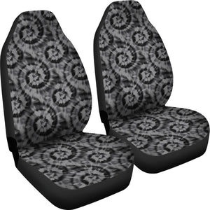Black and Gray Tie Dye Car Seat Covers Front Seat Protectors