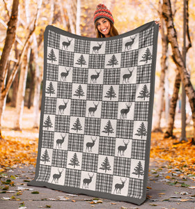 Winter Plaid Pattern Fleece Blanket Patchwork Deer and Pine Trees Pattern Dark Gray Border