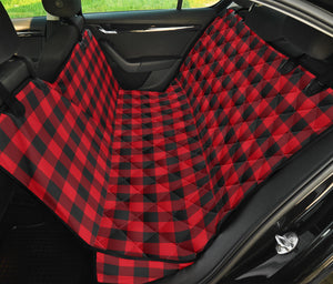 Red Black Buffalo Plaid Pet Back Seat Cover For Dogs