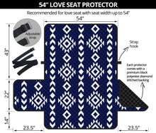 "Load image into Gallery viewer, Navy Blue and White Ethnic Tribal 54"" Loveseat Sofa Protector Furniture Slipcover"
