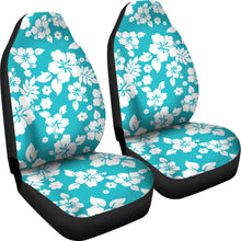 Load image into Gallery viewer, Teal and Large White Hawaiian Hibiscus Flowers Seat Covers