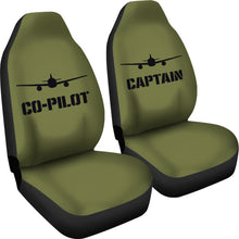 Load image into Gallery viewer, Captain and Co-Pilot Car Seat Covers Set Army Green Military