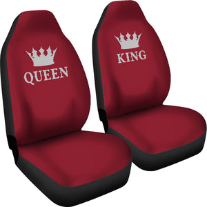 Queen and King His and Hers Car Seat Covers Set In Burgundy