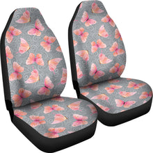 Load image into Gallery viewer, Gray White Leaves and Pink Butterfly Car Seat Covers
