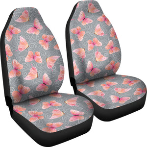 Gray White Leaves and Pink Butterfly Car Seat Covers