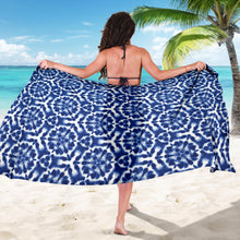 Load image into Gallery viewer, Shibori Blue and White Abstract Dye Pattern Sarong Swimsuit Cover Up