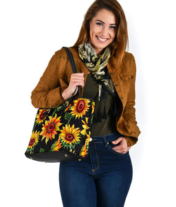 Sunflowers on Black Vegan Leather Tote Bag