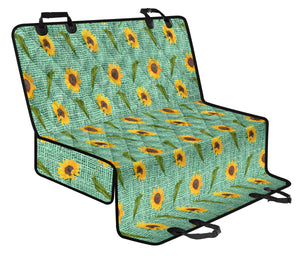 Turquoise Burlap Design With Sunflower Pattern Back Seat Protectors