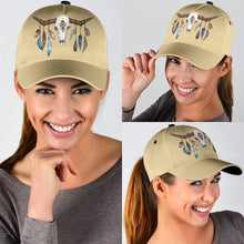 Load image into Gallery viewer, Tan Boho Cow Skull and Feathers Classic Hat Baseball Cap