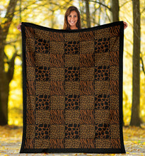 Load image into Gallery viewer, Animal Print Patchwork Pattern Fleece Throw Blanket