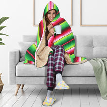 Load image into Gallery viewer, Green and Red Serape Style Hooded Blanket With Tan Sherpa Lining