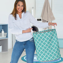 Load image into Gallery viewer, Turquoise Quatrefoil Laundry Basket Storage Bin