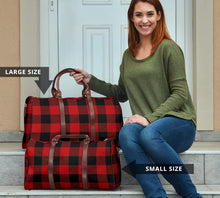 Load image into Gallery viewer, Red and Black Buffalo Plaid Travel Bag, Duffel Bag With Brown Faux Leather Handles