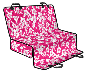 Hot Pink Hibiscus Hawaiian Back Seat Protector Cover For Pets