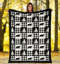 Load image into Gallery viewer, Black and White Buffalo Plaid Fleece Throw Blanket Country Lodge Pattern