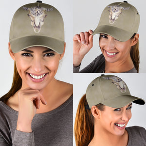 Stone Colored Classic Hat Baseball Cap With Boho Cow Skull