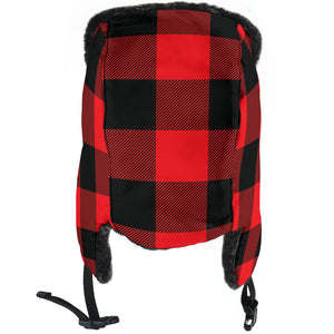Red and Black Buffalo Plaid Trapper Hat With Faux Fur Lining