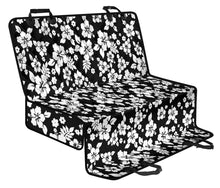 Load image into Gallery viewer, Black With White Hibiscus Hawaiian Flower Pattern Back Seat Protector Cover