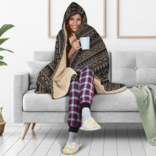 Load image into Gallery viewer, Stone Brown With Tribal Pattern Hooded Blanket Ethnic Aztec Design
