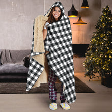 Load image into Gallery viewer, Black and White Buffalo Plaid Hooded Sherpa Lined Blanket