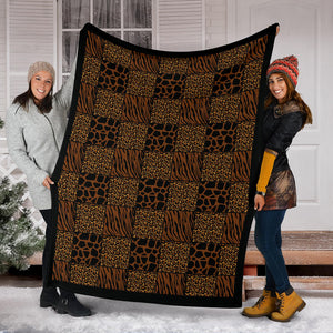 Animal Print Patchwork Pattern Fleece Throw Blanket