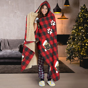Pug Dog Christmas Red Buffalo Plaid Hooded Blanket