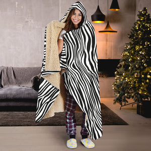 Zebra Print Hooded Blanket With Sherpa Lining Black and White