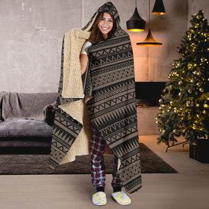 Stone Brown With Tribal Pattern Hooded Blanket Ethnic Aztec Design