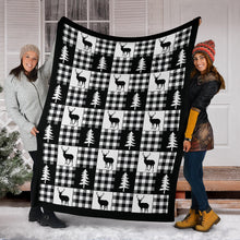 Load image into Gallery viewer, Black and White Buffalo Plaid With Deer and Pine Trees Pattern Fleece Throw Blanket