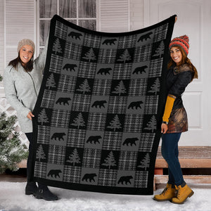 Gray and Black Country Plaid Patchwork Style Lodge Style Throw Blanket