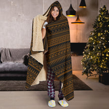 Load image into Gallery viewer, Brown Tribal Ethnic Pattern Hooded Blanket With Tan Sherpa Lining