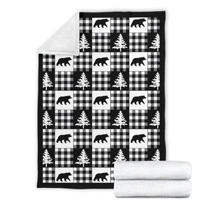 Black and White Buffalo Plaid Fleece Throw Blanket Country Lodge Pattern