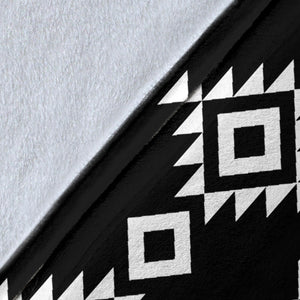 Black and White Ethnic Tribal Contrast Pattern Fleece Blanket